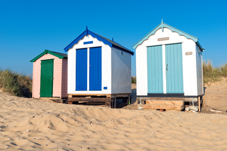 beach huts: Pretty painted beach huts at Southwold beach in Suffolk