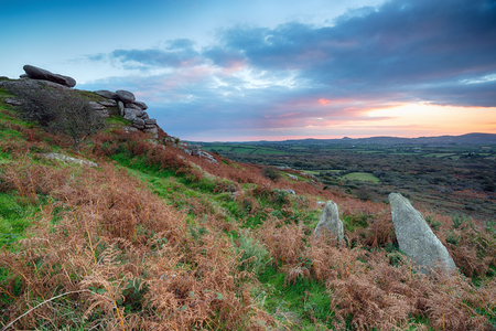bodmin: Sunset from Helman Tor, an ancient hillfort near Bodmin in Cornwall