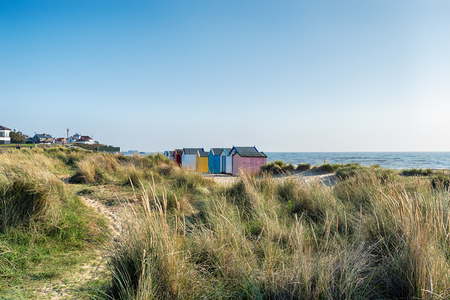 beach huts: Beach huts and sand dunes at Southwold on the Suffolk coast