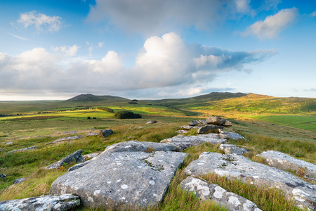 willy: A view over Bodmin Moor in Cornwall with the two highest points of Roughtor on the left and Brown Willy to the right