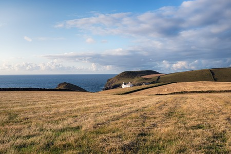 quin: A house on the cliffs at Port Quin on the north coast of Cornwall Stock Photo