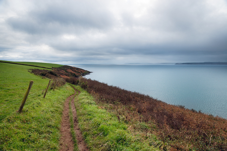 south west coast path: The South West Coast Path near Polkerris on the south coast of Cornwall