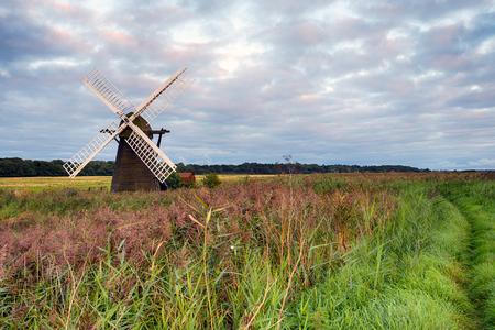 suffolk: Cloudy sunset at Herringfleet Windmill in Suffolk