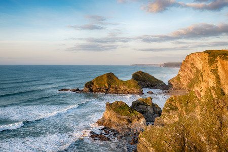 south west coast path: Dramatic scenery on the South West Coast Path as it leaves Porth in Newquay and heads north