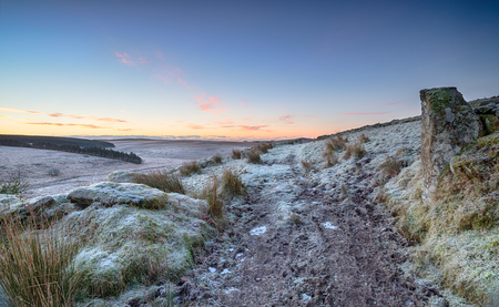bodmin: A frosty winter sunrise on Bodmin Moor in Cornwall