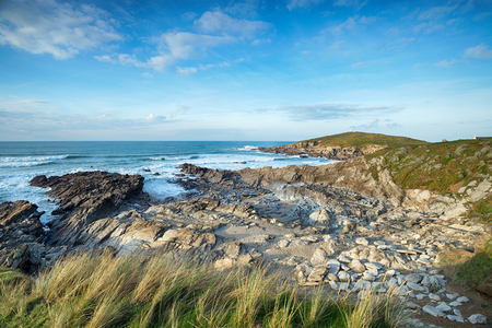 south west england: The South West Coast Path as it approaches the Towan Headland from Fistral Beach in Newquay on the Cornish coast