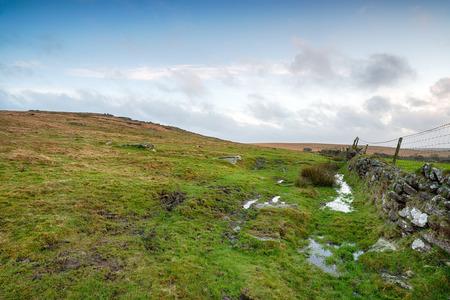 soggy: Soggy winter moorland on Bodmin Moor in Cornwall Stock Photo