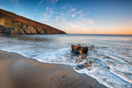 south coast: The beach at Hemmick on the south coast of Cornwall