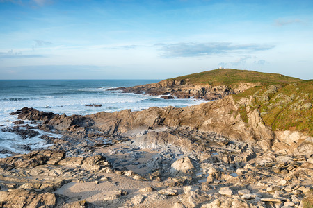 headland: A sunny day on the South West Coast Path at the Towan Headland in Newquay, Cornwall