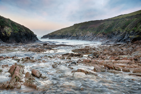 quin: Winter on the beach at Port Quin on the north coast of Cornwall