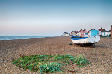 seaside town: The shingle beach and pretty seaside town of Aldeburgh on the Suffolk coast