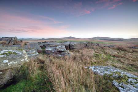 willy: The view from Alex Tor on Bodmin Moor in Cornwall with peaks of Roughtor and Brown Willy in the distance Stock Photo