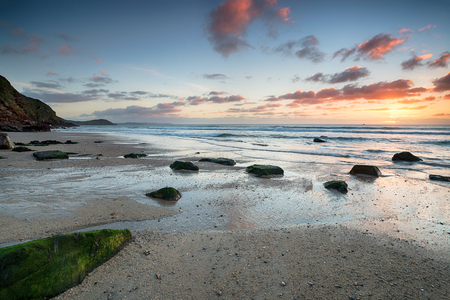 stunning: Stunning beach sunrise at Pentewan Sands on the south coast of Cornwall
