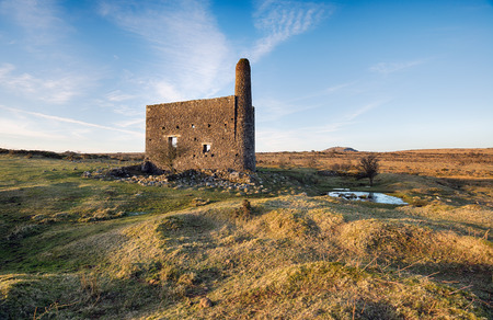 bodmin: Old abandoned Cornish Engine House at Minions on Bodmin Moor in Cornwall
