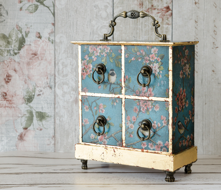jewellery box: Hand made decoupaged jewellery box with four drawers and gold leaf