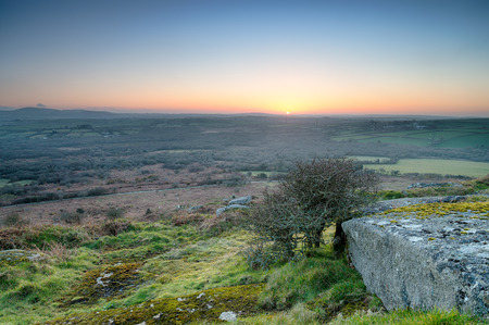 bodmin: The view from Helman Tor an ancient Iron Age hill fort near Bodmin in Cornwall Stock Photo