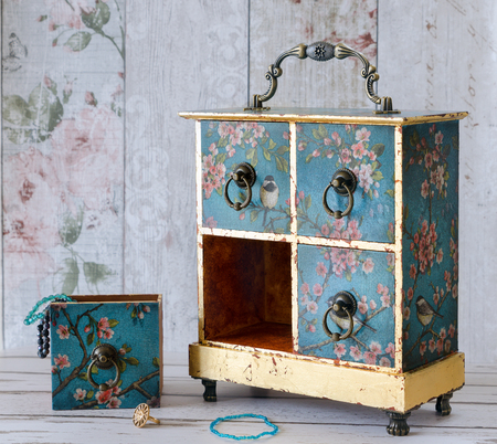 jewellery box: Hand made decoupaged jewellery box in a vintage shabby chic style Stock Photo