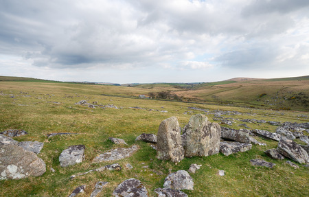 moor: At the foot of Leskernick Hill on a remote part of Bodmin Moor in Cornwall