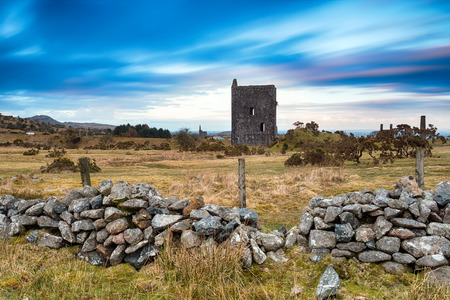 bodmin: Dusk at the ruins of the Wheal Jenkin engine house at Minions on Bodmin Moor in Cornwall