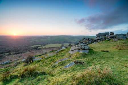 bodmin: Slabs of granite at the top of Helman Tor near Bodmin in Cornwall Stock Photo
