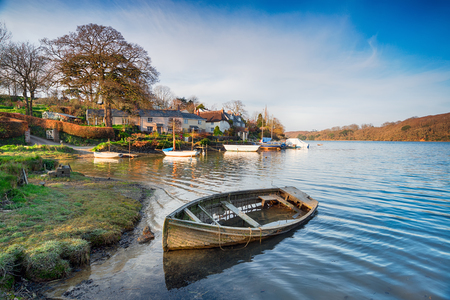 The picturesque village of St Clement on the banks of the Tresillian River just outside of Truro in Cornwall