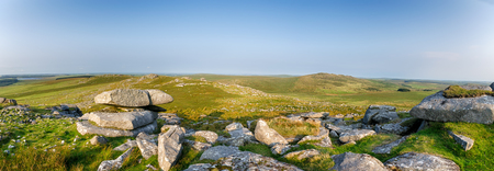 willy: A panoramic view from the top of Roughtor and looking out towards Brown Willy, Cornwalls highest peak Stock Photo