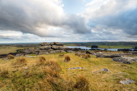 bodmin: A cloudy day at Tregarrick Tor overlooking Siblyback Lake on Bodmin Moor in Cornwall