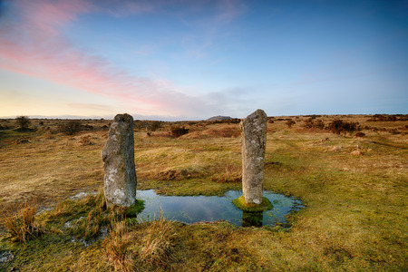 bodmin: The Pipers a pair of standing stones adjacent to the Hurlers stone circle at Minions on Bodmin Moor in Cornwall