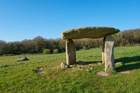 new age: Carwynnen Quoit an ancient neolithic dolmen near Camborne in Cornwall