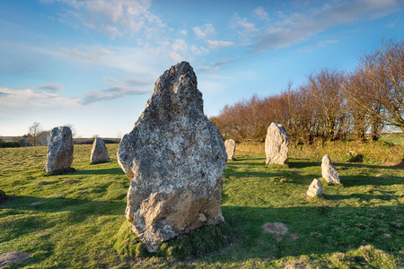 standing stone: Standing stones at Duloe stone circle in the Cornwall countryside Stock Photo