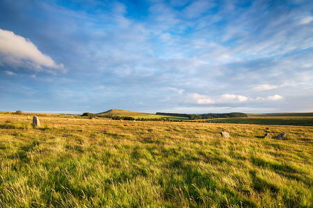 stone circle: Fernacre Stone Circle at the foot of Roughtor on a remote part of Bodmin Moor in Cornwall Stock Photo