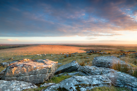 bodmin: A view across the wide open space of Bodmin Moor from Alex Tor near St Breward in Cornwall Stock Photo