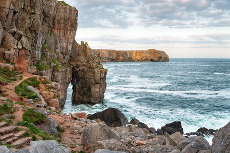 pembrokeshire: The rocky shoreline at St Govans Head on the Pembrokeshire coast in Wales