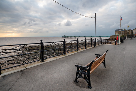 bristol channel: Stormy sunset at the seafront at Clevedon in north Somerset