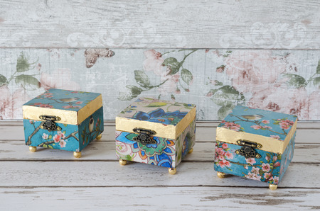 trinket: Handmade decoupaged trinket boxes on a shabby chic background