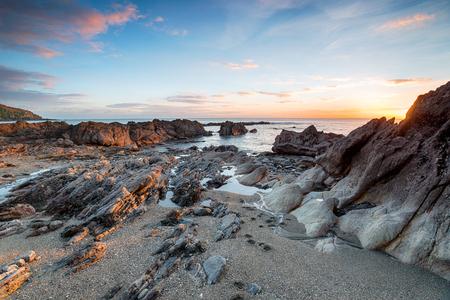 south coast: Beautiful sunset at Hemmick Beach on the south coast of Cornwall