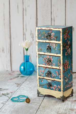 gilded: Handmade gilded mini chest of drawers in a vintage floral style