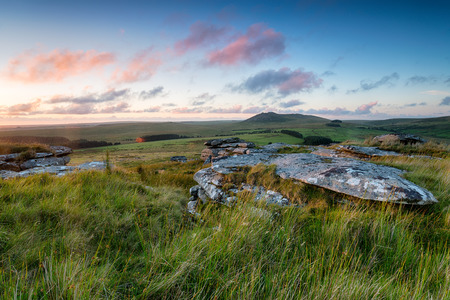 Beautiful sunset over Bodmin Moor with Roughtor, Cornwalls second highest peak in the distance Stock Photo