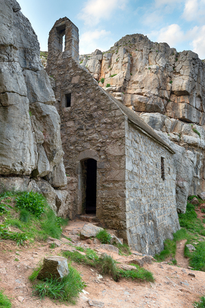 pembrokeshire: St Govans chapel, an ancient hermit cell built into cliffs on the Pembrokeshire coast in Wales