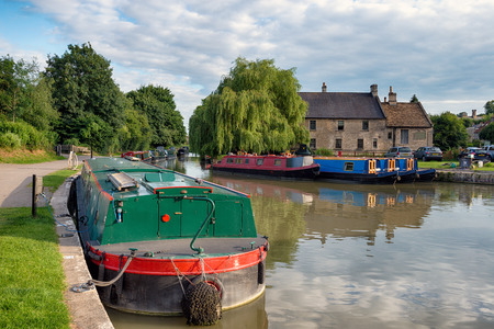 Barges on the Kennet and Avon Canal at Bradford on Avon in Wiltshire