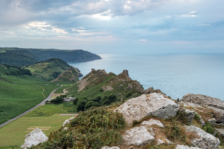 lynton: Dusk over the Valley of the Rocks at Lymouth on the north coast of Devon Stock Photo