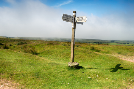 exmoor: A signpost at Cross Gate on Exmoor National Park in Somerset