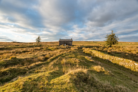 A lonely isolated farmhouse at Nuns Cross on Dartmoor National Park in Devon