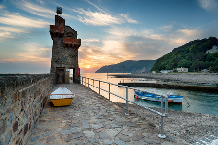lynmouth: The Rhenish Tower on the quay at Lymouth in north Devon.