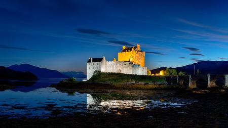 kyle: Nightime at Eilean Donan castle at Kyle of Lochalsh in the Scottish highlands