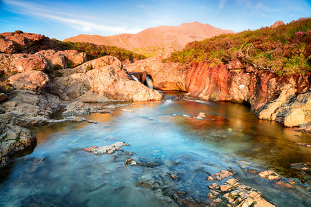 The Isle of Skye Fairy Pools at Glenbrittle at the foot of the Black Cuillin Mountains Imagens