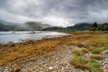 glencoe: The shores of Loch Leven, looking towards the village of Glencoe Stock Photo
