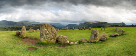 A panroamic view on stormy day at Castlerigg Stone Circle near Keswick in Cumbria