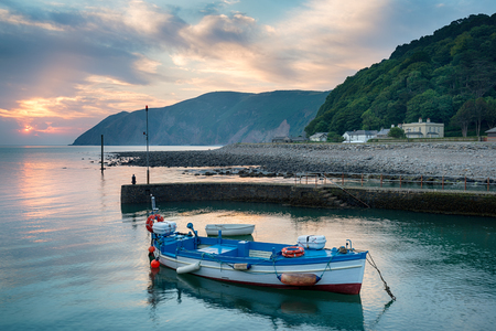lynmouth: Sunrise over the harbour at Lynmouth on the north coast of Devon