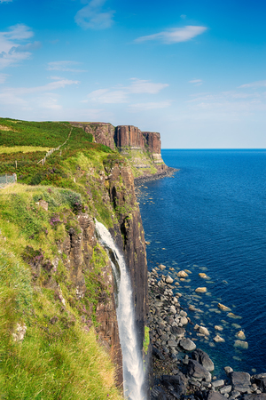 plunges: Mealt Falls on the Isle of Skye where water from Loch Mealt plunges over sheer cliffs in to the Sound of Raasay Stock Photo